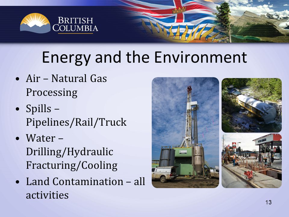 13 Energy and the Environment Air – Natural Gas Processing Spills – Pipelines/Rail/Truck Water – Drilling/Hydraulic Fracturing/Cooling Land Contamination – all activities
