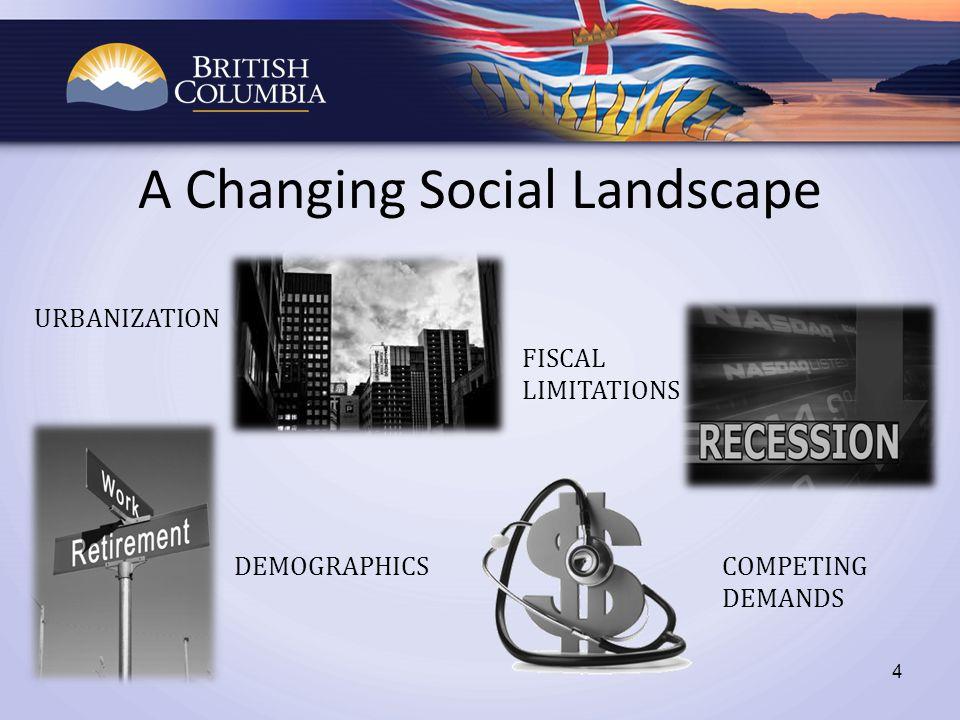 A Changing Social Landscape URBANIZATION FISCAL LIMITATIONS DEMOGRAPHICSCOMPETING DEMANDS 4