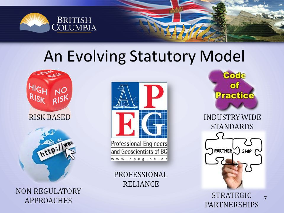 An Evolving Statutory Model 7 RISK BASED PROFESSIONAL RELIANCE NON REGULATORY APPROACHES STRATEGIC PARTNERSHIPS INDUSTRY WIDE STANDARDS
