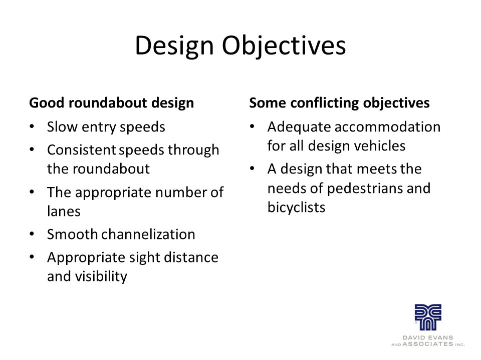 Design Objectives Good roundabout design Slow entry speeds Consistent speeds through the roundabout The appropriate number of lanes Smooth channelization Appropriate sight distance and visibility Some conflicting objectives Adequate accommodation for all design vehicles A design that meets the needs of pedestrians and bicyclists
