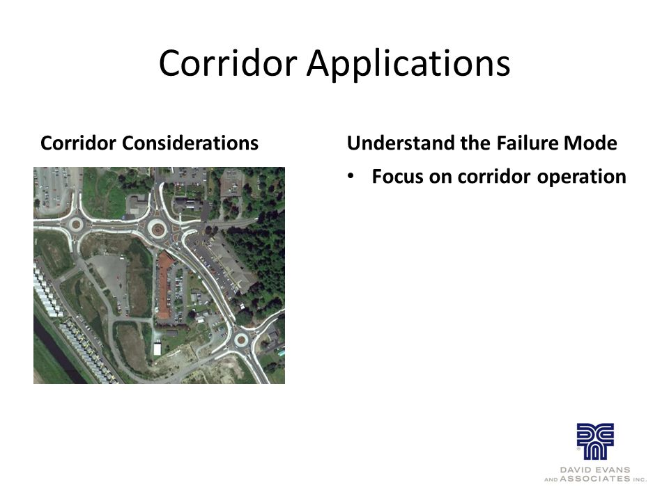 Corridor Applications Corridor ConsiderationsUnderstand the Failure Mode Focus on corridor operation
