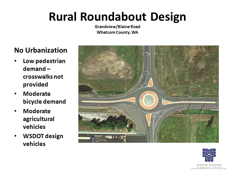 Rural Roundabout Design Grandview/Blaine Road Whatcom County, WA No Urbanization Low pedestrian demand – crosswalks not provided Moderate bicycle dema