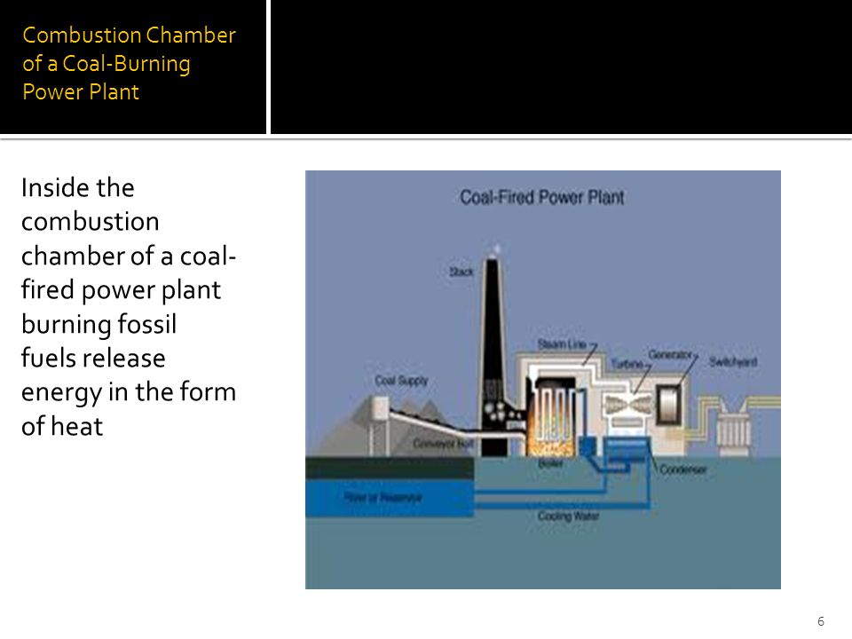 Combustion Chamber of a Coal-Burning Power Plant Inside the combustion chamber of a coal- fired power plant burning fossil fuels release energy in the