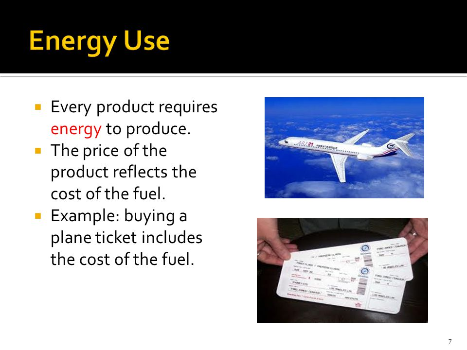  Every product requires energy to produce.  The price of the product reflects the cost of the fuel.  Example: buying a plane ticket includes the co