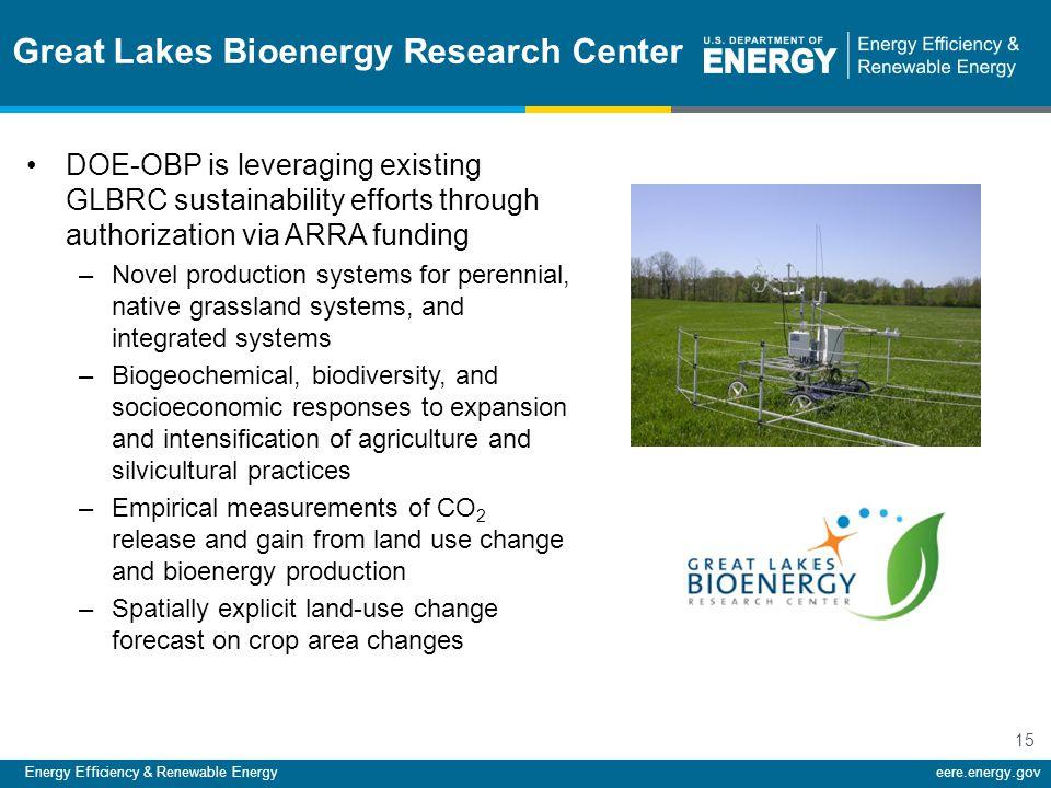 Energy Efficiency & Renewable Energyeere.energy.gov 15 Great Lakes Bioenergy Research Center DOE-OBP is leveraging existing GLBRC sustainability effor