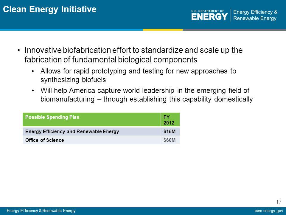 Energy Efficiency & Renewable Energyeere.energy.gov 17 Innovative biofabrication effort to standardize and scale up the fabrication of fundamental bio
