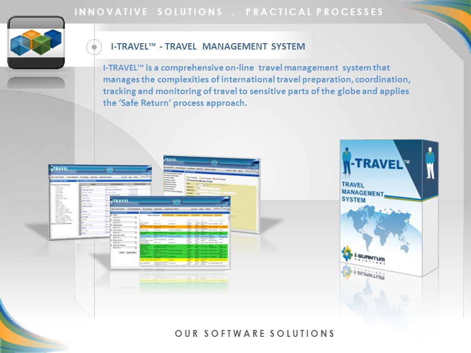 I-TRAVEL™ - TRAVEL MANAGEMENT SYSTEM INNOVATIVE SOLUTIONS.
