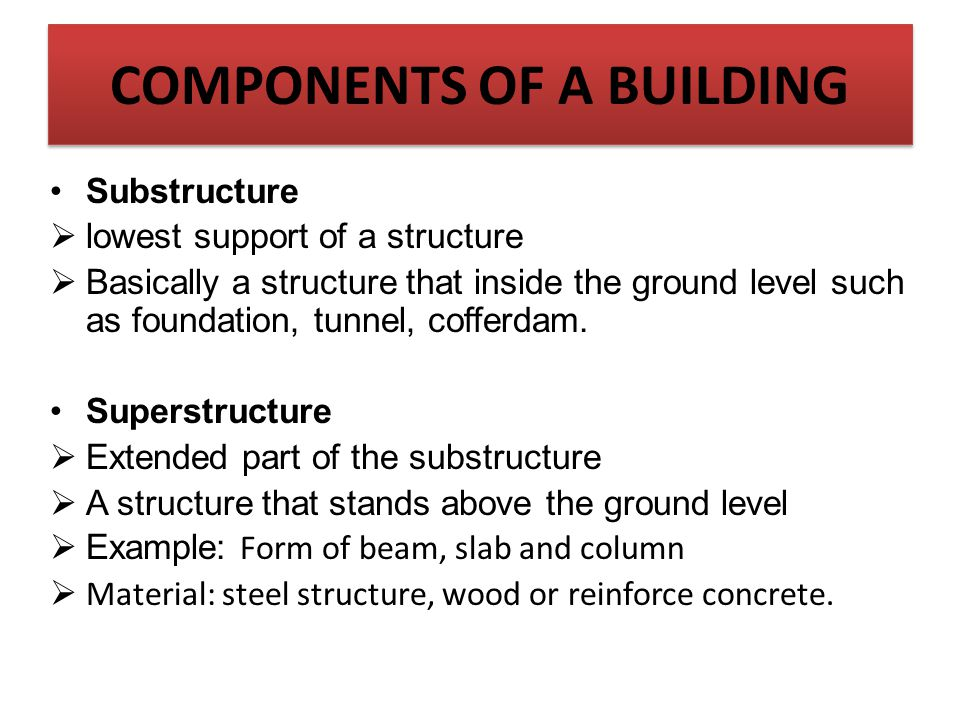 Substructure  lowest support of a structure  Basically a structure that inside the ground level such as foundation, tunnel, cofferdam. Superstructur