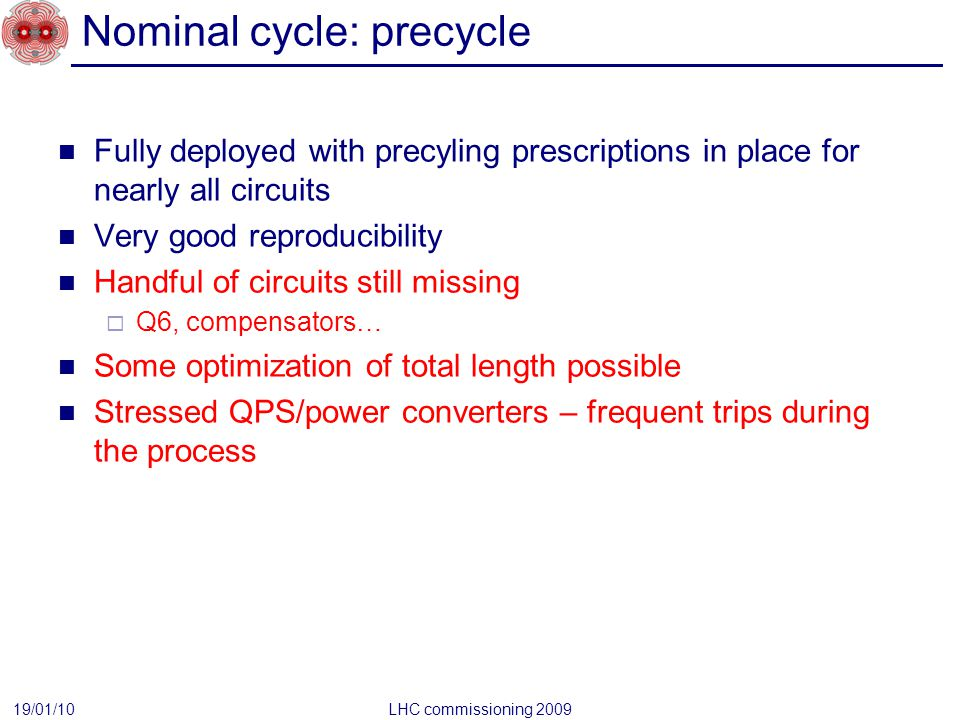 Nominal cycle: precycle Fully deployed with precyling prescriptions in place for nearly all circuits Very good reproducibility Handful of circuits sti