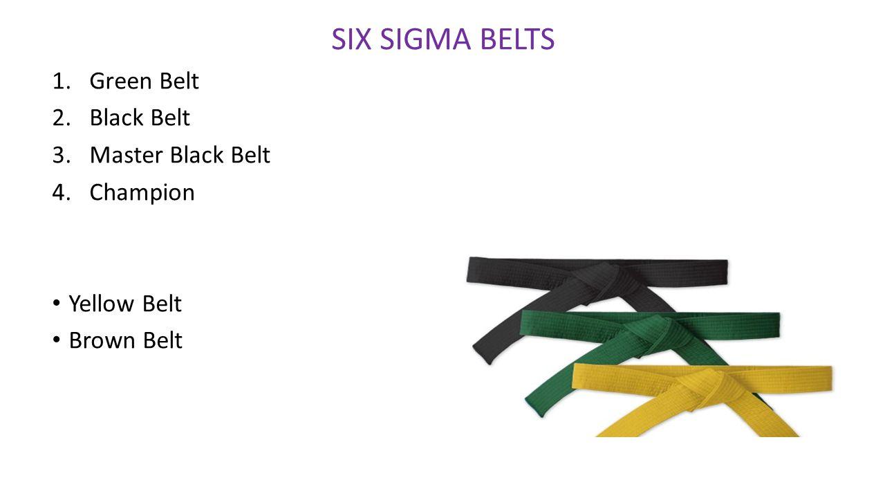SIX SIGMA BELTS 1.Green Belt 2.Black Belt 3.Master Black Belt 4.Champion Yellow Belt Brown Belt