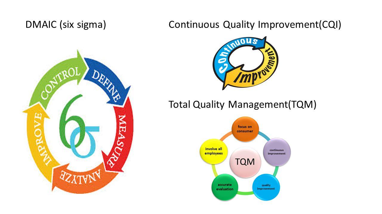 DMAIC (six sigma)Continuous Quality Improvement(CQI) Total Quality Management(TQM)