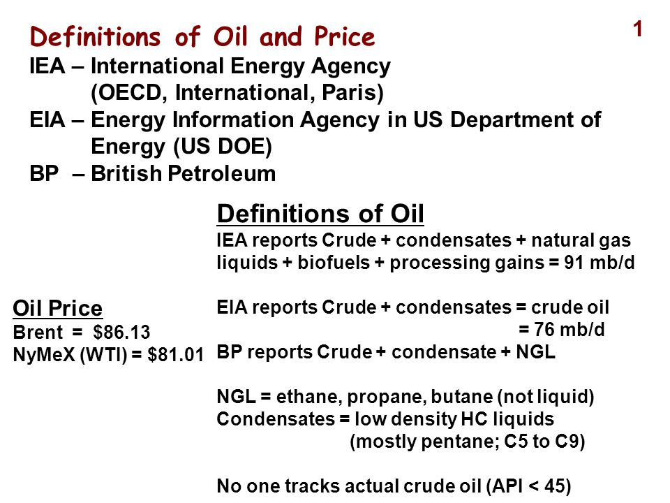 Definitions of Oil and Price IEA – International Energy Agency (OECD, International, Paris) EIA – Energy Information Agency in US Department of Energy (US DOE) BP – British Petroleum Definitions of Oil IEA reports Crude + condensates + natural gas liquids + biofuels + processing gains = 91 mb/d EIA reports Crude + condensates = crude oil = 76 mb/d BP reports Crude + condensate + NGL NGL = ethane, propane, butane (not liquid) Condensates = low density HC liquids (mostly pentane; C5 to C9) No one tracks actual crude oil (API < 45) Oil Price Brent = $86.13 NyMeX (WTI) = $81.01 1