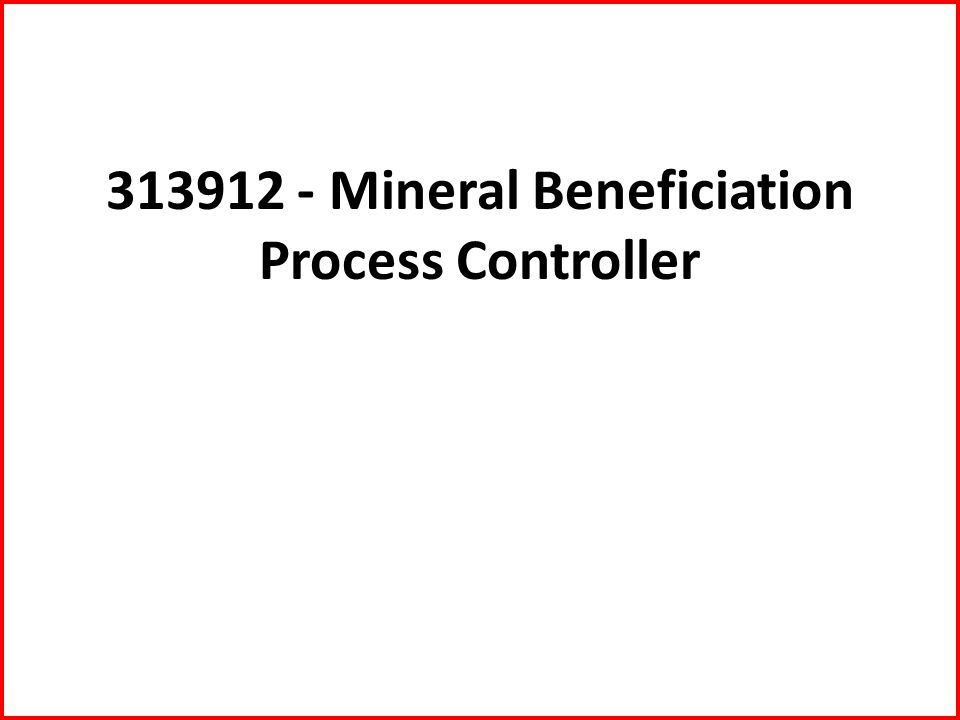 313912 - Mineral Beneficiation Process Controller