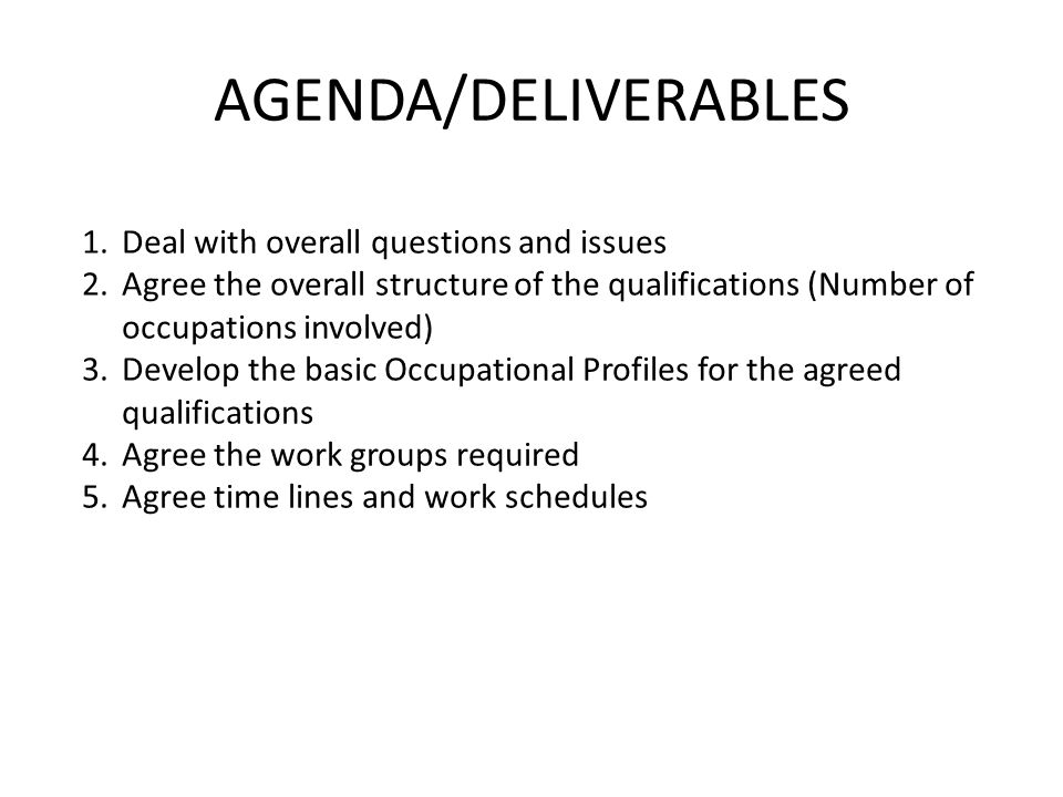 AGENDA/DELIVERABLES 1.Deal with overall questions and issues 2.Agree the overall structure of the qualifications (Number of occupations involved) 3.Develop the basic Occupational Profiles for the agreed qualifications 4.Agree the work groups required 5.Agree time lines and work schedules