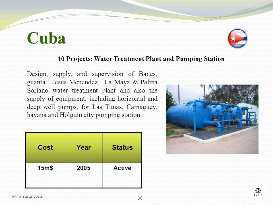  Design, supply, and supervision of Banes, guanta, Jesus Menendez, La Maya & Palma Soriano water treatment plant and also the supply of equipment, in