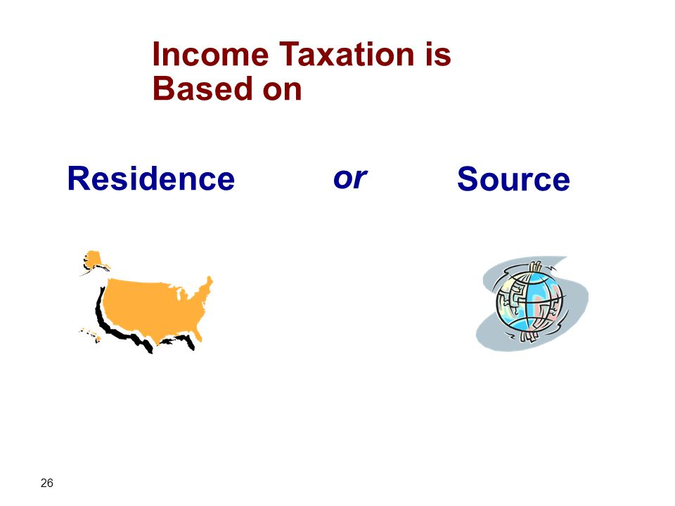 26 Income Taxation is Based on Residence Source or