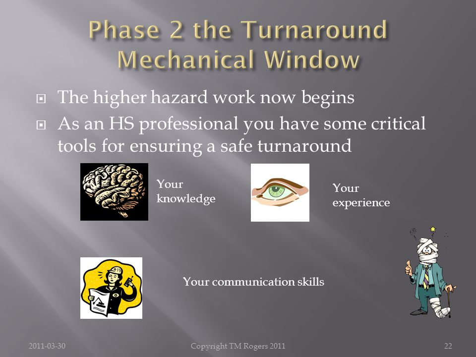  The higher hazard work now begins  As an HS professional you have some critical tools for ensuring a safe turnaround 2011-03-30Copyright TM Rogers 201122 Your knowledge Your experience Your communication skills