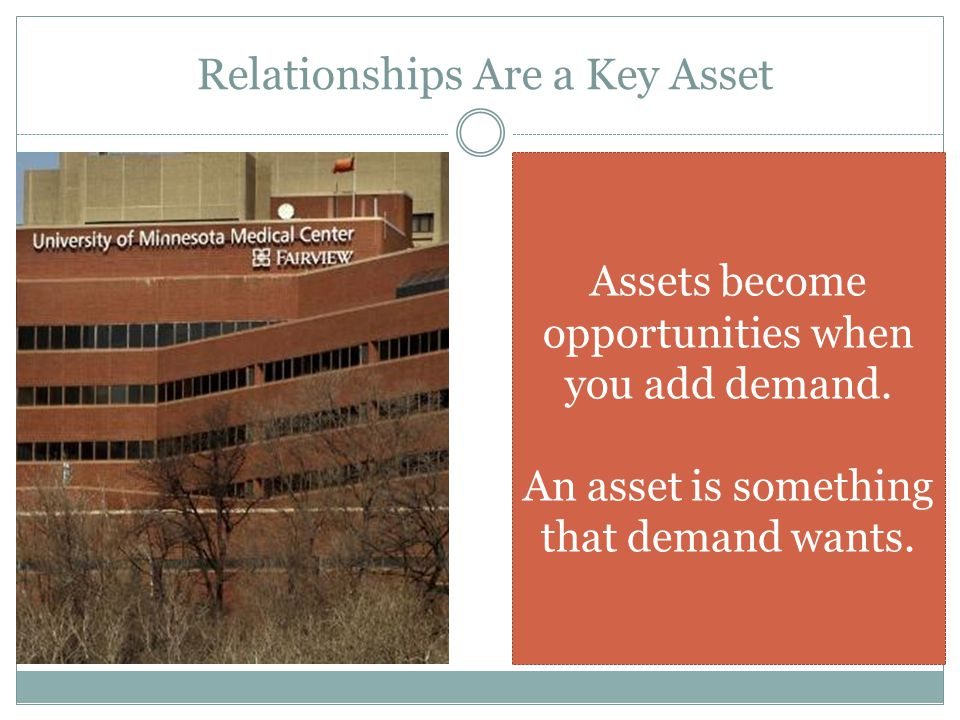 Relationships Are a Key Asset Assets become opportunities when you add demand.