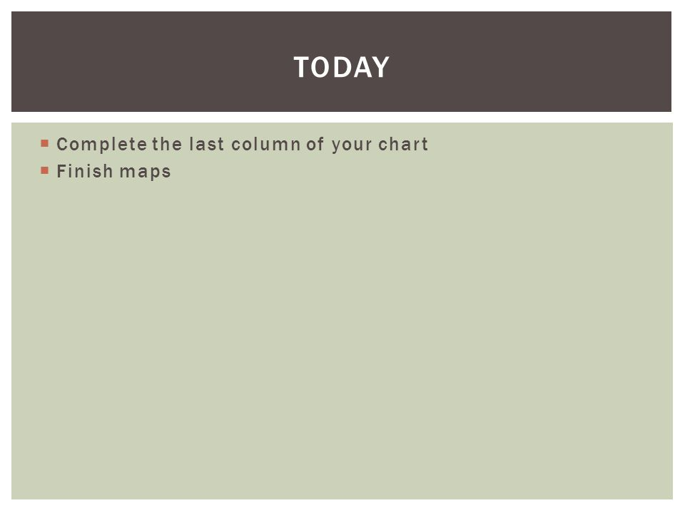  Complete the last column of your chart  Finish maps TODAY