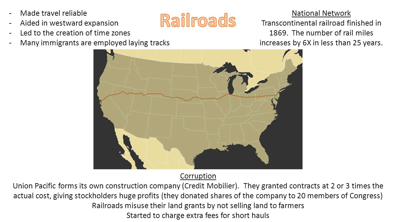 National Network Transcontinental railroad finished in 1869.