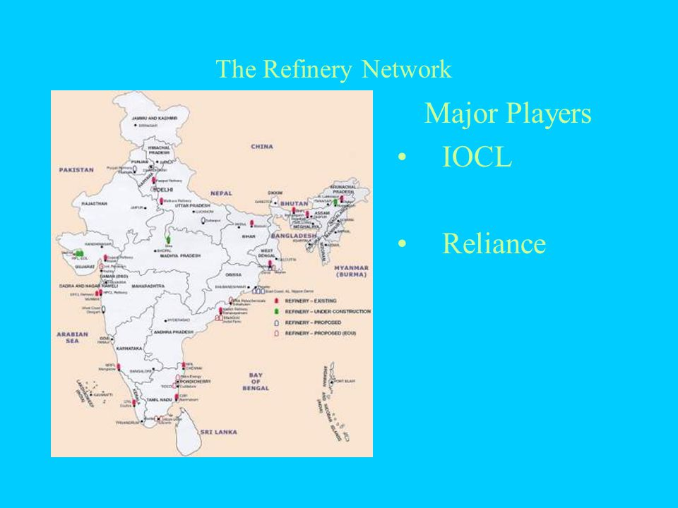 The Refinery Network Major Players IOCL Reliance