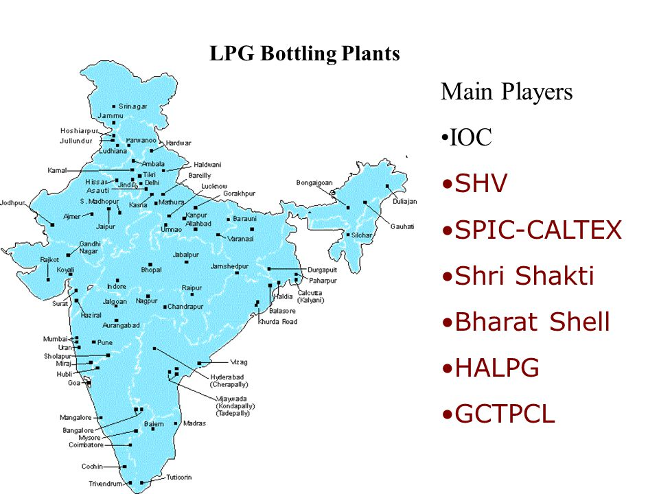 LPG Bottling Plants Main Players IOC SHV SPIC-CALTEX Shri Shakti Bharat Shell HALPG GCTPCL