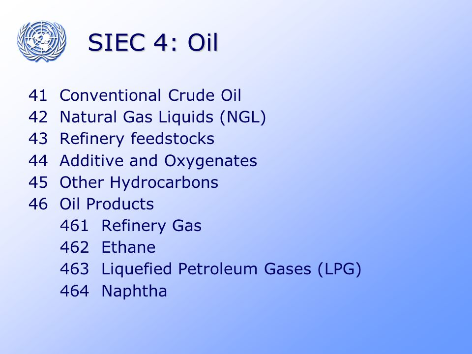 SIEC 4: Oil 41 Conventional Crude Oil 42 Natural Gas Liquids (NGL) 43 Refinery feedstocks 44 Additive and Oxygenates 45 Other Hydrocarbons 46 Oil Prod