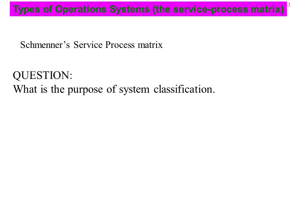 23 Schmenner's Service Process matrix QUESTION: What is the purpose of system classification.