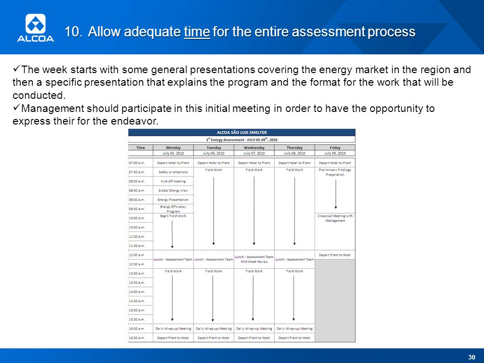 10.Allow adequate time for the entire assessment process The week starts with some general presentations covering the energy market in the region and then a specific presentation that explains the program and the format for the work that will be conducted.