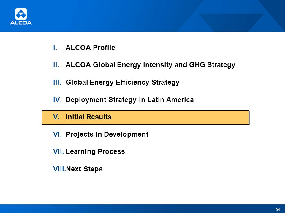 I.ALCOA Profile II.ALCOA Global Energy Intensity and GHG Strategy III.Global Energy Efficiency Strategy IV.Deployment Strategy in Latin America V.Initial Results VI.Projects in Development VII.Learning Process VIII.Next Steps 34