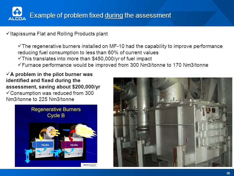 Example of problem fixed during the assessment Itapissuma Flat and Rolling Products plant The regenerative burners installed on MF-10 had the capability to improve performance reducing fuel consumption to less than 60% of current values This translates into more than $450,000/yr of fuel impact Furnace performance would be improved from 300 Nm3/tonne to 170 Nm3/tonne A problem in the pilot burner was identified and fixed during the assessment, saving about $200,000/yr Consumption was reduced from 300 Nm3/tonne to 225 Nm3/tonne 38