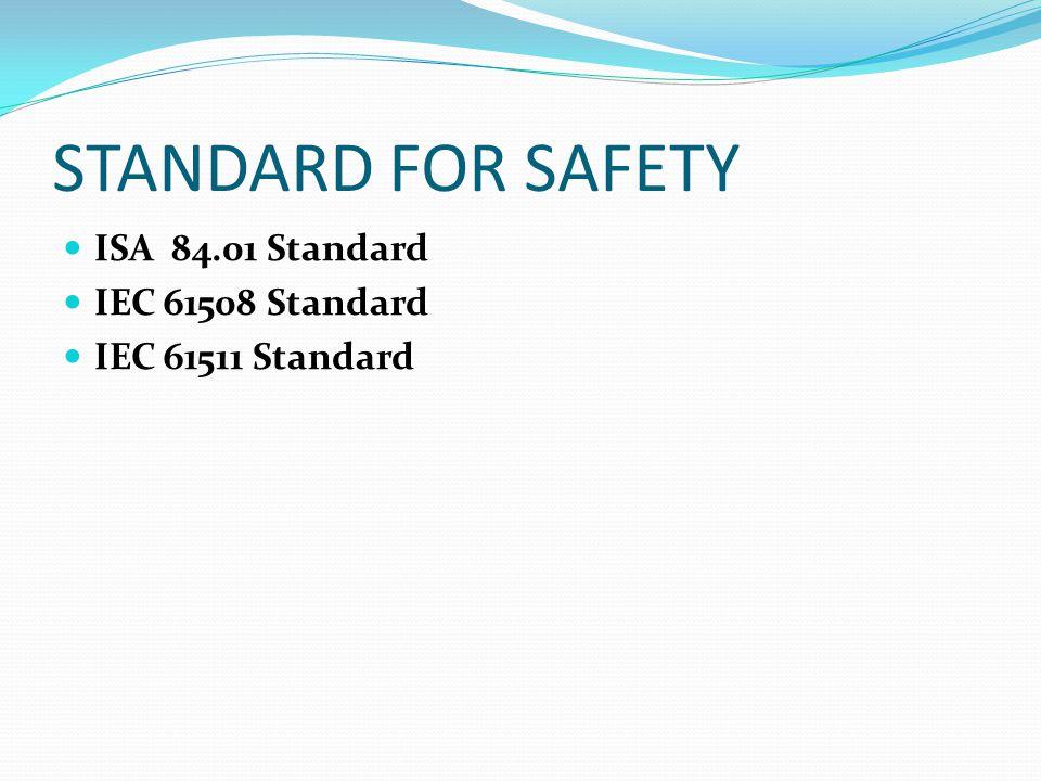 STANDARD FOR SAFETY ISA 84.01 Standard IEC 61508 Standard IEC 61511 Standard