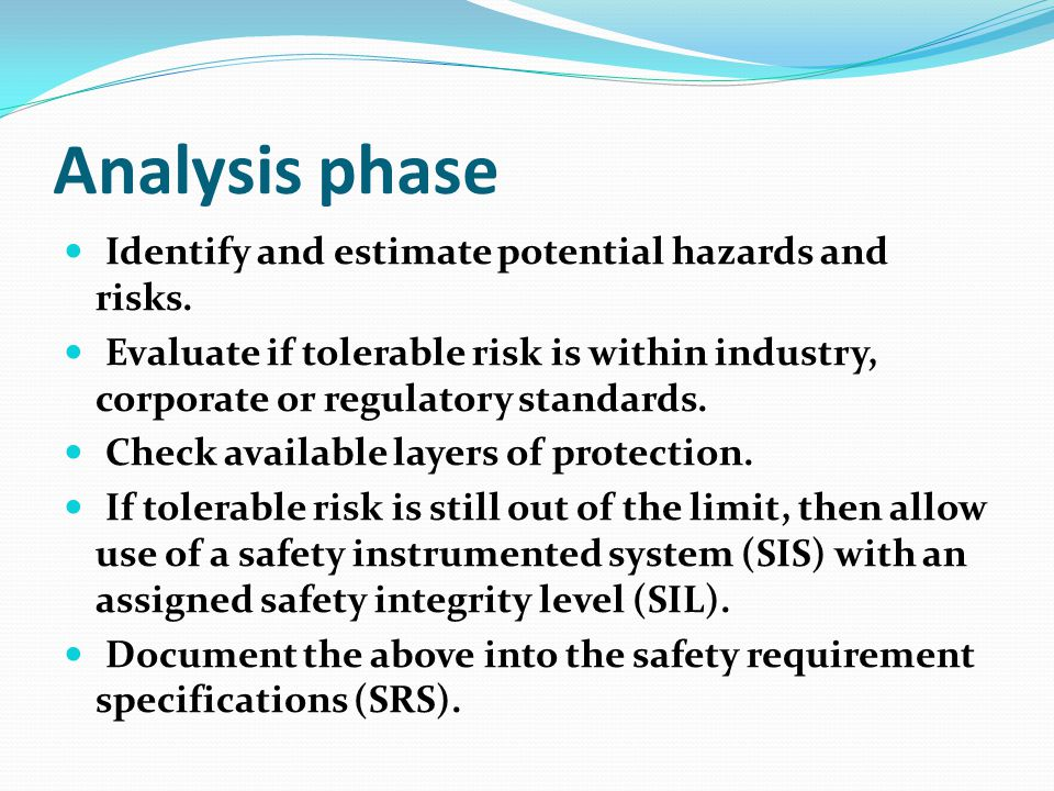 Analysis phase Identify and estimate potential hazards and risks.