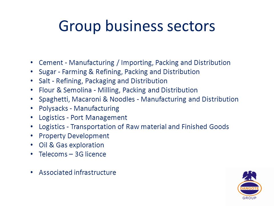 Group business sectors Cement - Manufacturing / Importing, Packing and Distribution Sugar - Farming & Refining, Packing and Distribution Salt - Refini