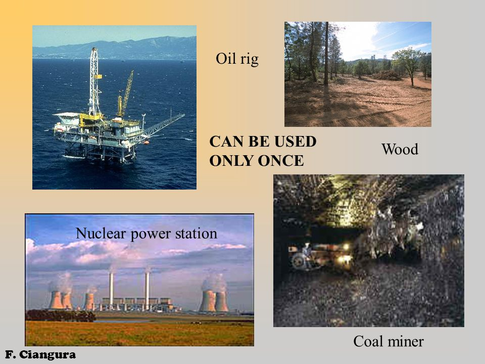 Oil rig Nuclear power station Wood Coal miner CAN BE USED ONLY ONCE F. Ciangura
