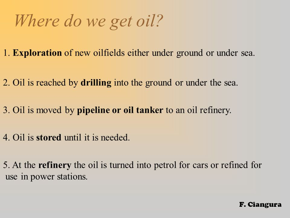 Where do we get oil. 1. Exploration of new oilfields either under ground or under sea.