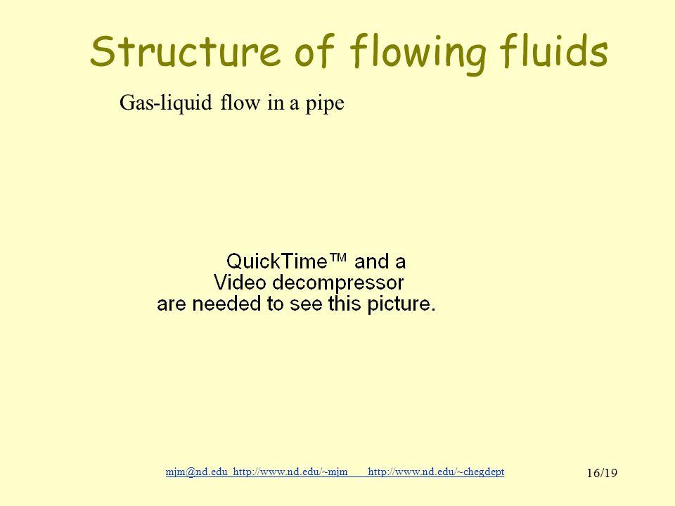 mjm@nd.eduhttp://www.nd.edu/~mjmhttp://www.nd.edu/~chegdepthttp://www.nd.edu/~mjmhttp://www.nd.edu/~chegdept 16/19 Structure of flowing fluids Gas-liquid flow in a pipe