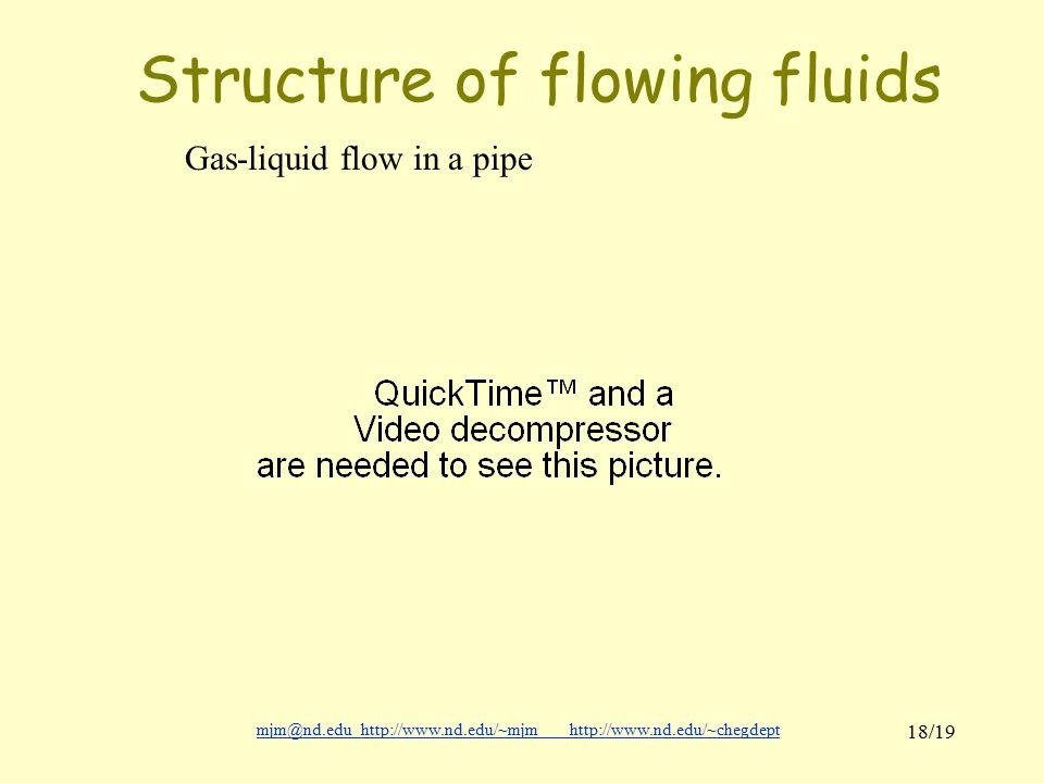 mjm@nd.eduhttp://www.nd.edu/~mjmhttp://www.nd.edu/~chegdepthttp://www.nd.edu/~mjmhttp://www.nd.edu/~chegdept 18/19 Structure of flowing fluids Gas-liquid flow in a pipe