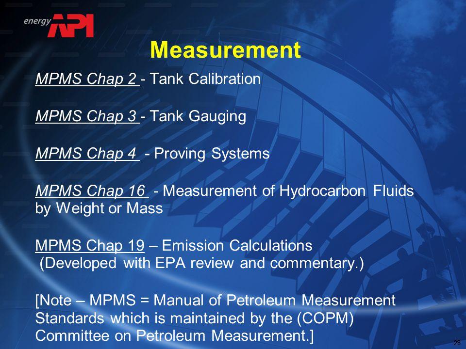 28 Measurement MPMS Chap 2 - Tank Calibration MPMS Chap 3 - Tank Gauging MPMS Chap 4 - Proving Systems MPMS Chap 16 - Measurement of Hydrocarbon Fluid