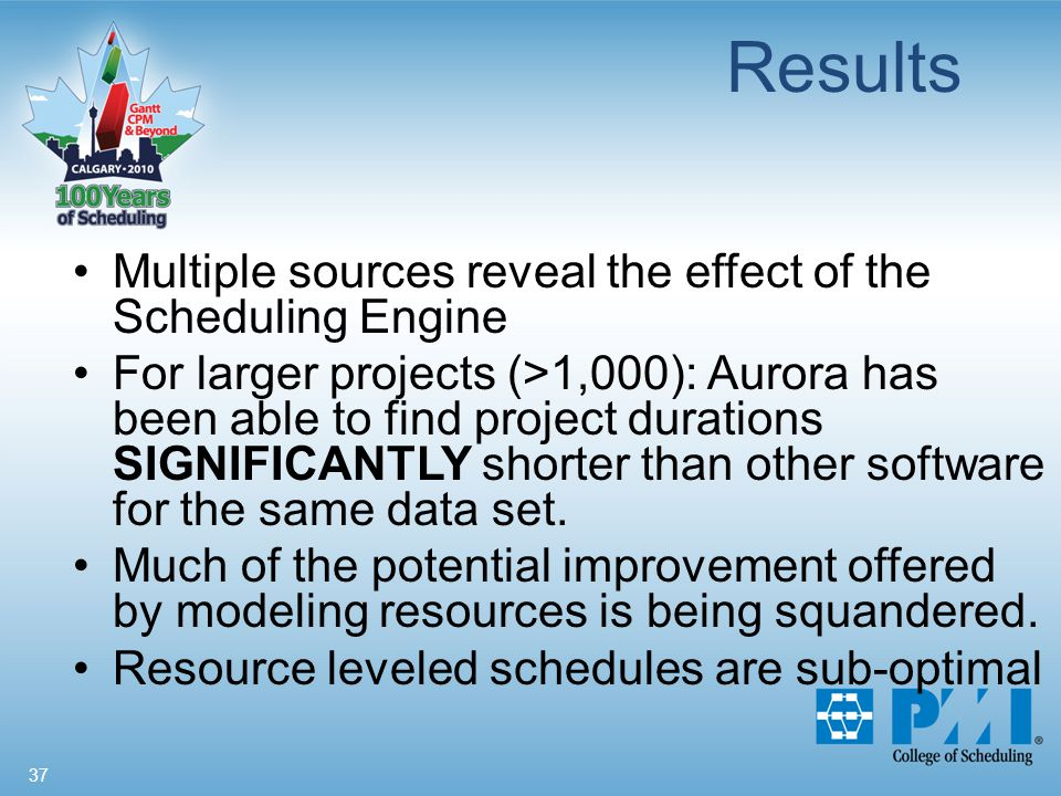 37 Results Multiple sources reveal the effect of the Scheduling Engine For larger projects (>1,000): Aurora has been able to find project durations SIGNIFICANTLY shorter than other software for the same data set.