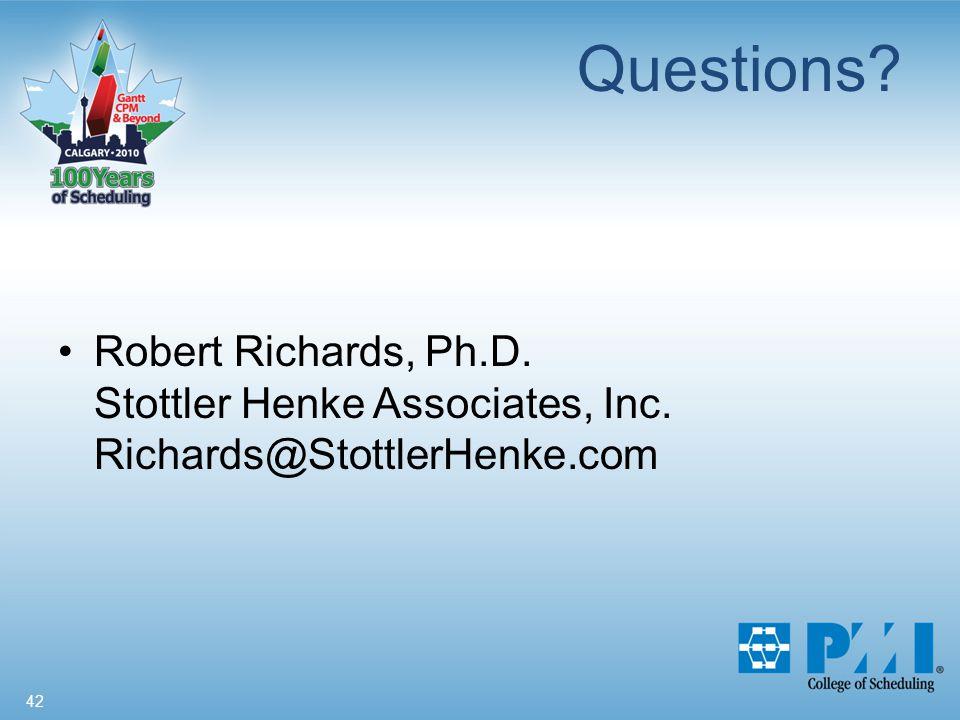 42 Questions Robert Richards, Ph.D. Stottler Henke Associates, Inc. Richards@StottlerHenke.com