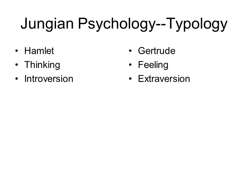 Jungian Psychology--Typology Hamlet Thinking Introversion Gertrude Feeling Extraversion