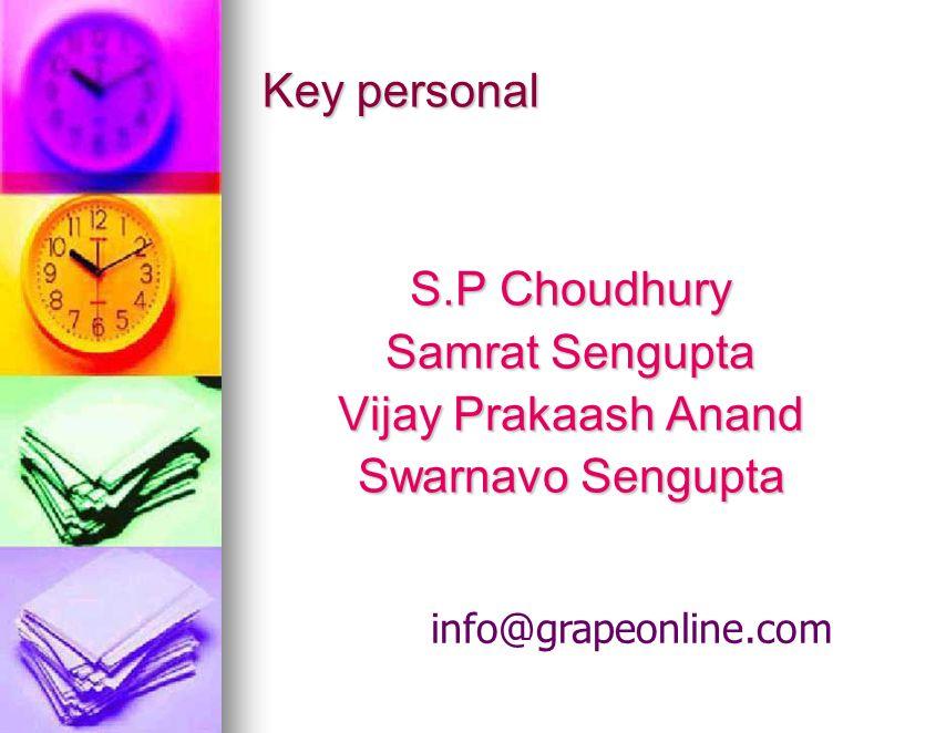 Key personal info@grapeonline.com S.P Choudhury Samrat Sengupta Vijay Prakaash Anand Swarnavo Sengupta Swarnavo Sengupta