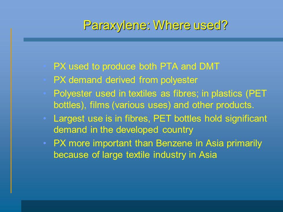 Paraxylene: Where used.