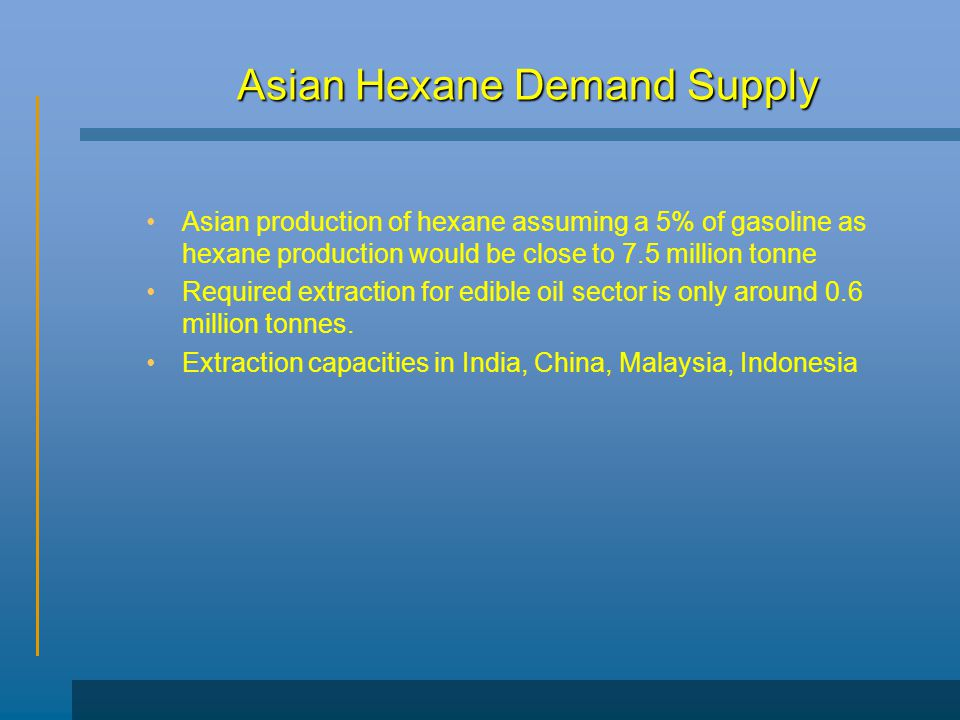 Asian Hexane Demand Supply Asian production of hexane assuming a 5% of gasoline as hexane production would be close to 7.5 million tonne Required extraction for edible oil sector is only around 0.6 million tonnes.