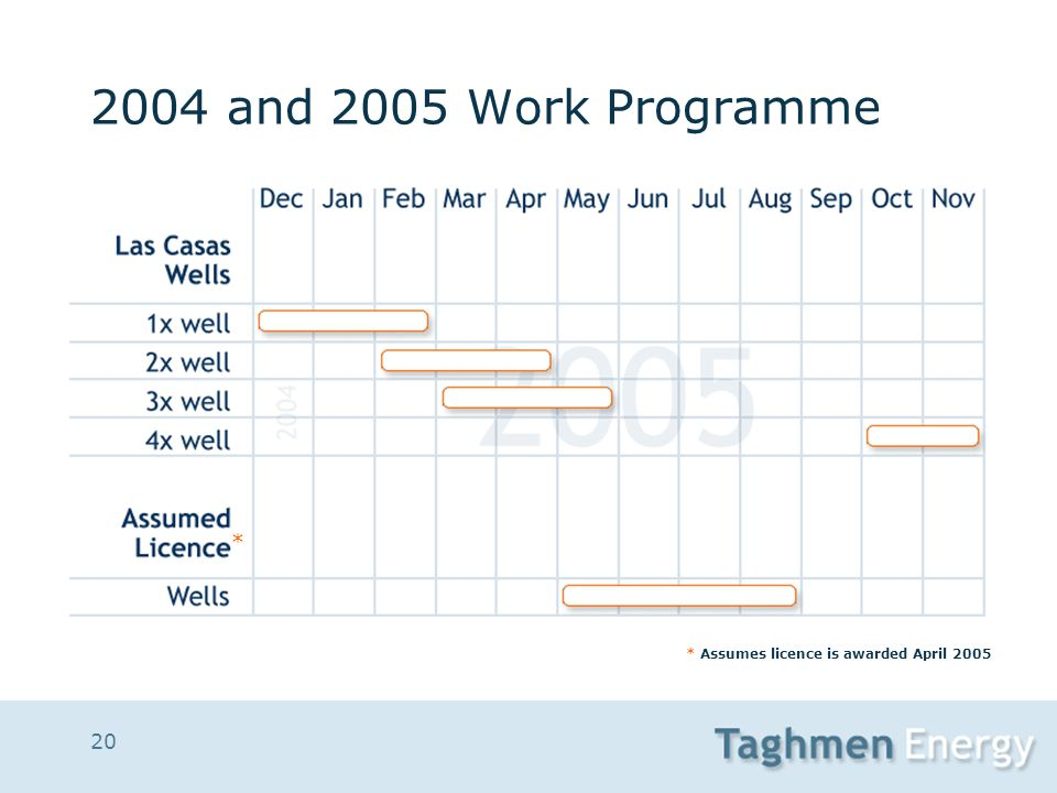 20 2004 and 2005 Work Programme * Assumes licence is awarded April 2005 *