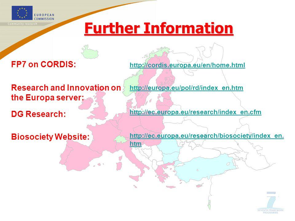 http://cordis.europa.eu/en/home.html http://europa.eu/pol/rd/index_en.htm http://ec.europa.eu/research/index_en.cfm http://ec.europa.eu/research/biosociety/index_en.