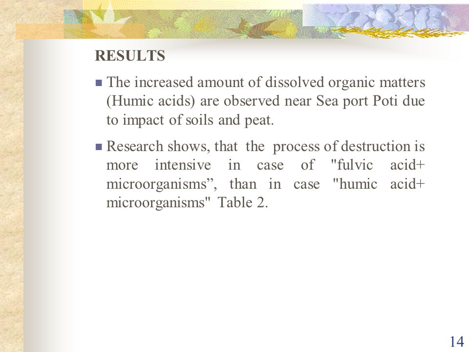 14 RESULTS The increased amount of dissolved organic matters (Humic acids) are observed near Sea port Poti due to impact of soils and peat. Research s