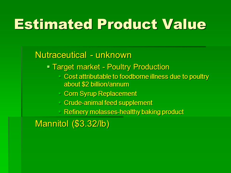 Estimated Product Value Nutraceutical - unknown  Target market - Poultry Production  Cost attributable to foodborne illness due to poultry about $2 billion/annum  Corn Syrup Replacement  Crude-animal feed supplement  Refinery molasses-healthy baking product Mannitol ($3.32/lb)