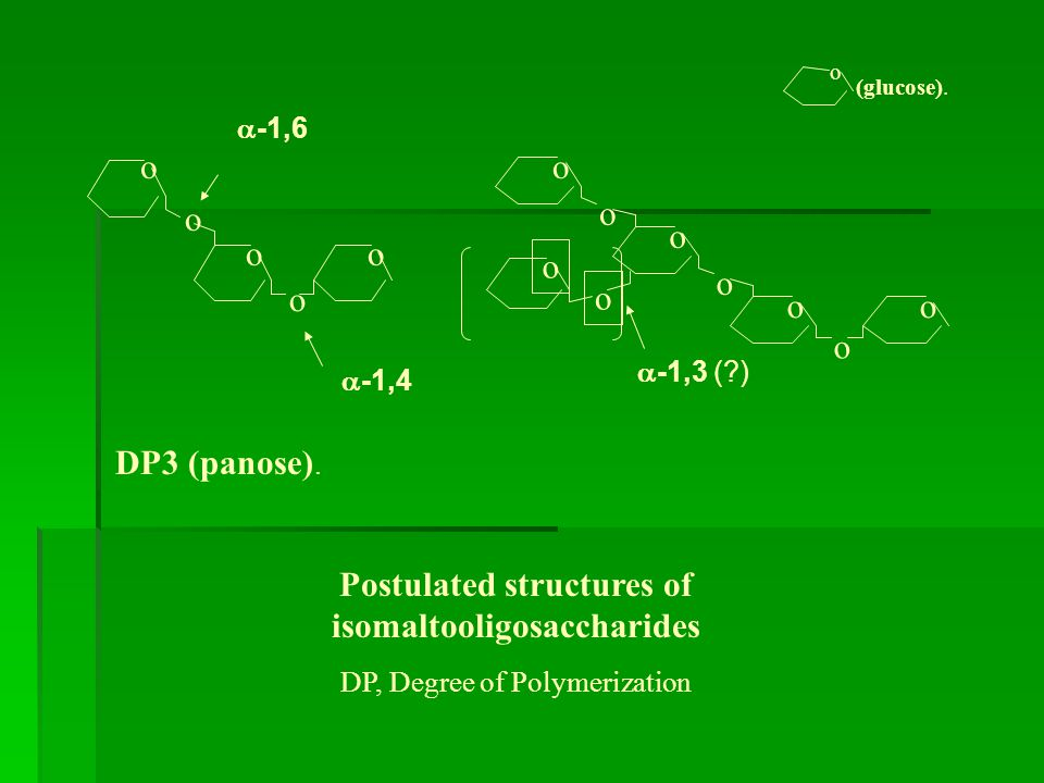 Postulated structures of isomaltooligosaccharides DP, Degree of Polymerization DP3 (panose).